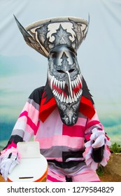 Ghost mask and costume colorful Phi Ta Khon festival at Loei province Thailand.