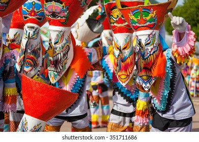 Ghost mask and costume in colorful at Phi Ta Khon festival at Loei Province,Thailand