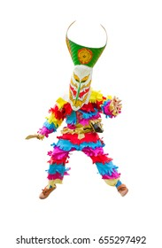 Ghost mask and costume colorful Phi Ta Khon festival  on June  Young people dress in spirit and wear a mask, sing and dance at Loei province Thailand on white background.