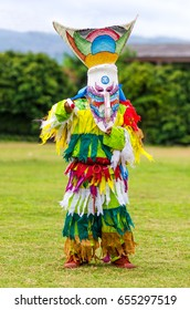 Ghost mask and costume colorful Phi Ta Khon festival  on June  Young people dress in spirit and wear a mask, sing and dance at Loei province Thailand.