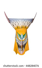 Ghost mask on white background in Ghosh Mash Festival Phi Ta Khon festival at  in Loei Province,Thailand.