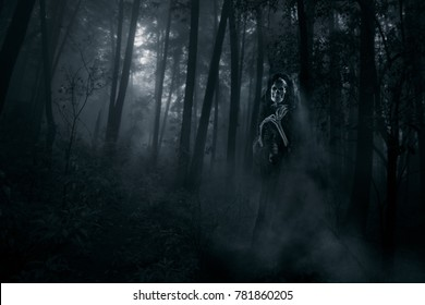 Ghost in the middle of the woods / high contrast image