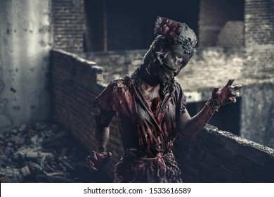 Ghost nurse woman or zombie in the building abandoned hospital.