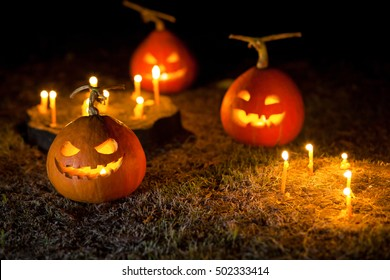 Ghost pumpkins on Halloween