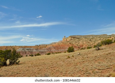 Ghost Ranch New Mexico Abiquiu Blue Sky Nature Desert Rock Formation Travel White Clouds Geology Outdoor Landscape Beautiful Southwest Scenery