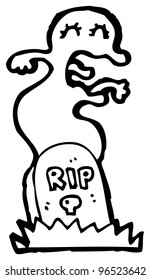 ghost rising from grave cartoon