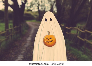 Ghost with a sheet and a halloween pumpkin on a rural path.