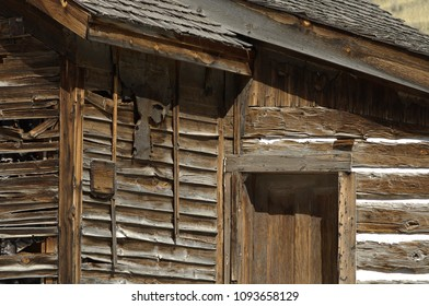 Ghost Town building in Bannack State Park, Montana.  Log building along the main street.