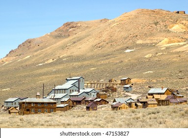 ghost town buildings and mill
