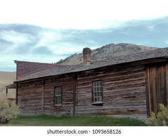 Ghost Town buildings: Scenes from Bannack State Park, Montana.  Log building along the main street.