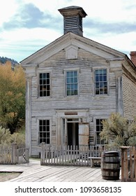 Ghost Town buildings: Scenes from Bannack State Park, Montana.  Log hall and school house along the main street.