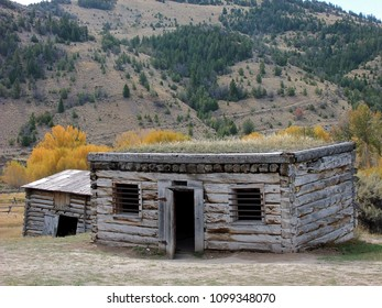 Ghost town old jail in Bannack State Park