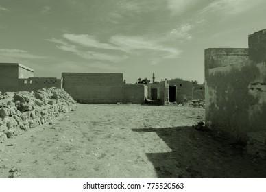 Ghost town in a quietly sleeping desert on the Persian Gulf coast. Arabian Peninsula. Al Jazirah Al Hamra. United Arab Emirates