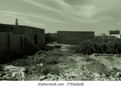 Ghost town in a quietly sleeping desert on the Persian Gulf coast. Arabian Peninsula. Al Jazirah Al Hamra. United Arab Emirates