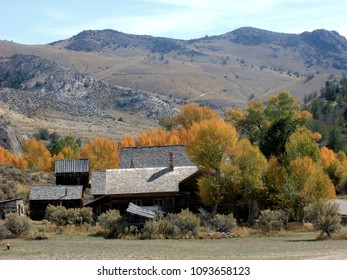 Ghost Town scene from Bannack State Park, Montana.  Distant view of some of the town buildings in autumn.