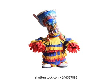 Ghost toy model on white background in Ghosh Mash Festival Phi Ta Khon festival at Loei Province,Thailand