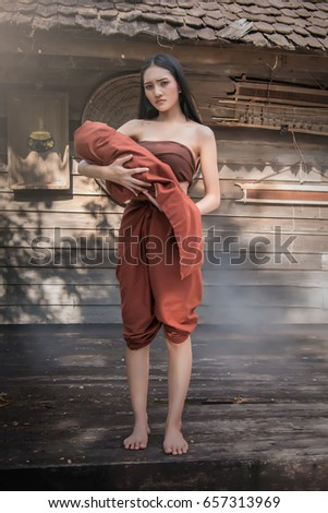 37e0a53a5c6 Ghost Woman Wearing Typical Thai Traditional Stock Photo (Edit Now ...