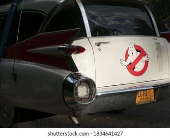 Ghostbusters car Ectomobile 3/4 rear view closeup, 10 August 2017, Geneva, Switzerland