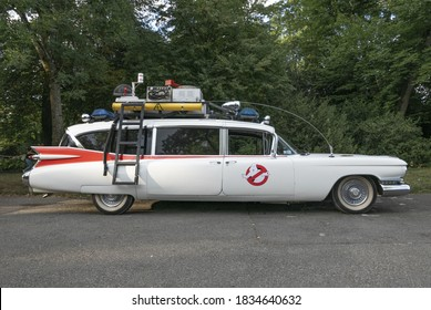 Ghostbusters car Ectomobile side view, 10 August 2017, Geneva, Switzerland