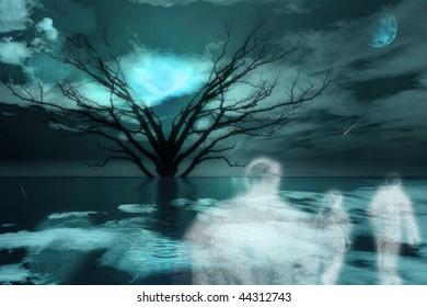 Ghostlike figures journey in landscape