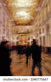 ghostly figures in the cathedral,Toledo, Impressionist photo at very low speed of blurred human figures in movement, camera trepidation to give a sense of unreality,mystery,spirituality,faith,
