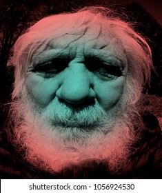 Ghostly senior, portrait of old man with face