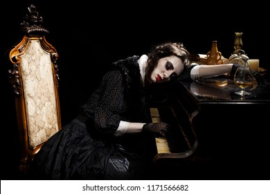 Ghostly woman in black playing piano
