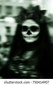 Ghostly Woman with sugar skull, Catrina