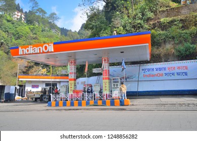 Ghum, India - November 17, 2018: An indian oil petrol pump by the side of the road.