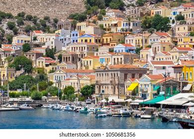 Gialos Harbor at Symi Island. Dodecanese, Greece, Europe