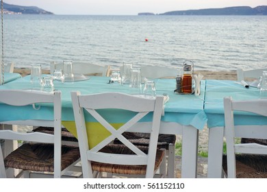 GIALOVA, GREECE -14 JULY 2016: The beach town of Gialova in Messinia in the Peloponnese region of Greece near Pylos is lined with traditional tavernas.