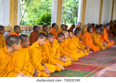 An Giang, Vietnam - Dec 6, 2016: Young monks in temple at ordination ceremony that changes the Vietnamese young men to be adults