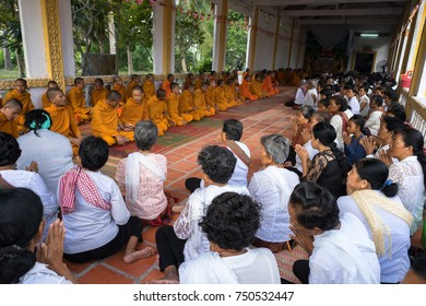 An Giang, Vietnam - Dec 6, 2016: Champa Buddhists and young monks in temple at ordination ceremony that change the Vietnamese young men to be adults in Chau Doc district