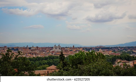 Gianicolo view point and a look on the main buildings of Rome from above, Italy