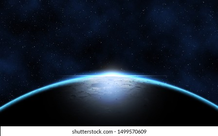 Giant blue planet against starry cosmos sky, fantasy image