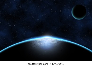 Giant blue planet against starry cosmos sky, fantasy image based on amateur moon astrophotography