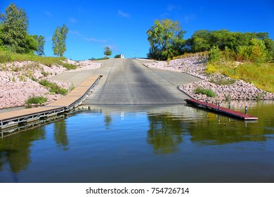 Giant boat ramp landscape at Saylorville Lake near Polk City Iowa