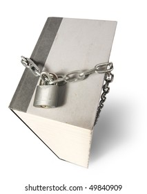 Giant book with chain and padlock around it to represent censorship