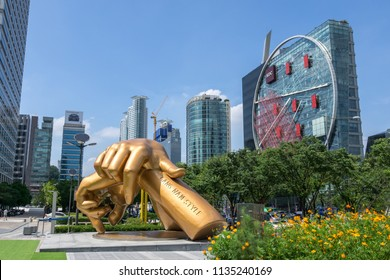 giant bronze sculpture of psy's gangnam style statue in front of coex. Taken in Seoul, South Korea on July 16th 2018