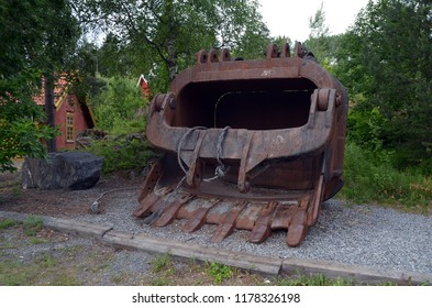 Giant bucket of an excavator.Minery museum of Norway.The former silver mine. The quarry was discontinued in 1952. June 17,2018. Kongsberg,Norway