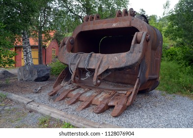 Giant bucket of an excavator.Minery museumof Norway.The former silver mine. The quarry was discontinued in 1952. June 17,2018. Kongsberg,Norway