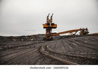 Giant bucket wheel excavator, coal mine.