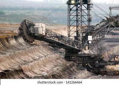 A giant bucket-wheel excavator in a brown-coal mine