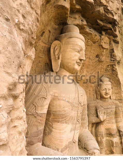 Giant Buddha sculture in Yungang grottoes near Datong
