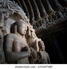 Giant Buddha seated in cave 10 (also known as Vishvakarma or Carpenters Cave) at Ellora, Aurangabad, India. A UNESCO World Heritage Site