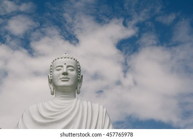 A giant Buddha statue in a Buddhist pagoda in Vietnam.