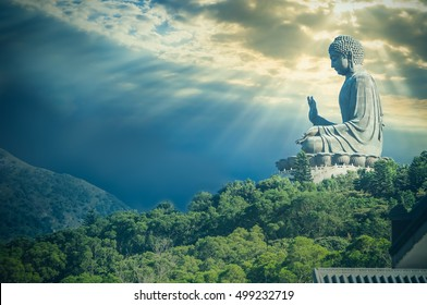 Giant Buddha statue at Ngong Ping,Hong Kong / Vintage look