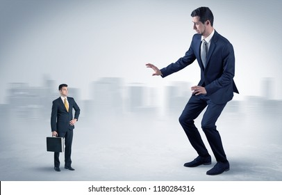 Giant businessman being afraid of small serious executor with suitcase