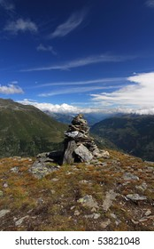 A giant cairn at the Twara viewpoint at the Swiss alps.