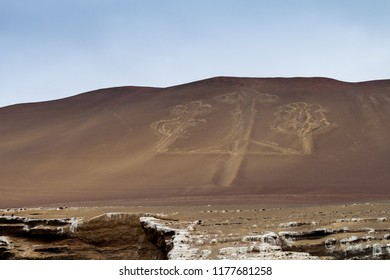 Giant Candelabra carving (Candelabra of the Andes) on Paracas peninsula,Peru